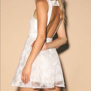 White sequin backless skater dress